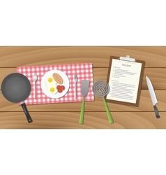food recipe with breakfast menu vector image vector image
