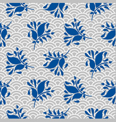 japanese pattern in blue and gray colors vector image vector image