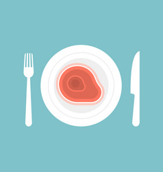 knife and fork with steak in plate vector image