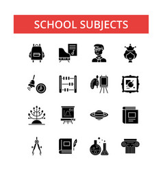 school subjects thin line icons vector image vector image