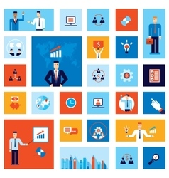 Successful business businessman people icon set vector
