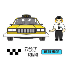 taxi service banner cab driver next to his taxi vector image vector image