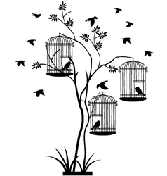 tree silhouette with bird flying vector image vector image