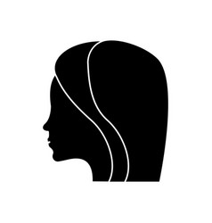 women day profile girl icon shadow vector image