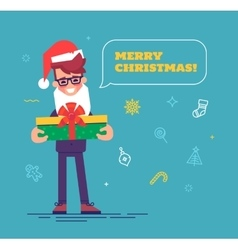 Businessman in santa hat with beard giving gift vector image