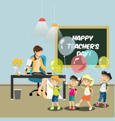 children congratulate the teacher in the classroom vector image vector image