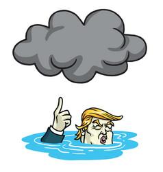 donald trump under the black cloud smog cartoon vector image vector image