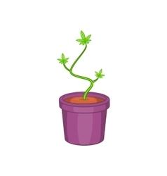 Marijuana in flower pot icon cartoon style vector