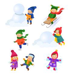set of kids children enjoying winter activities vector image vector image