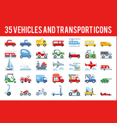 35 vehicle and transport flat icons vector image