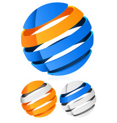 3d spheres globes with lines - abstract 3d design vector