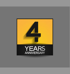 4 years anniversary in square yellow and black vector