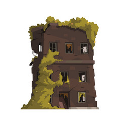 Abandoned building icon vector