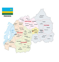 administrative map rwanda with flag vector image