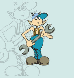 aliens mechanic character cartoon vector image
