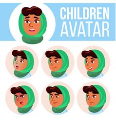 arab muslim girl avatar set kid primary vector image