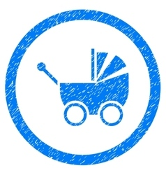 Baby Carriage Rounded Icon Rubber Stamp vector