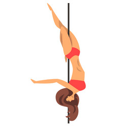 Beautiful pole dancer girl in red bikini fitness vector