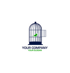 Bird cage logo design vector