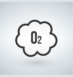 black o2 cloud oxygen icon isolated on white vector image