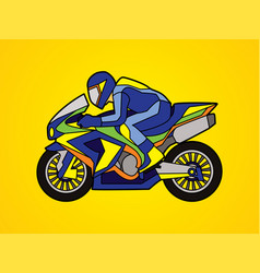 blue motorcycle racing side view graphic vector image