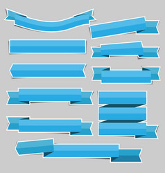 blue paper ribbon banner stickers with shadows vector image