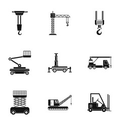 building object icons set simple style vector image