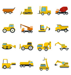 building vehicles icons set in flat style vector image