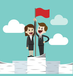 businessman and businesswoman standing on a huge vector image