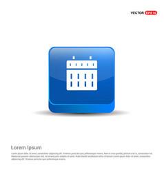 calendar web icon - 3d blue button vector image