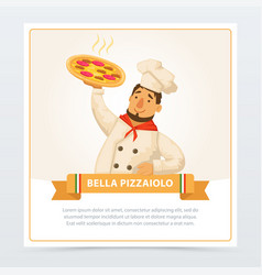 Cartoon character of italian pizzaiolo holding hot vector