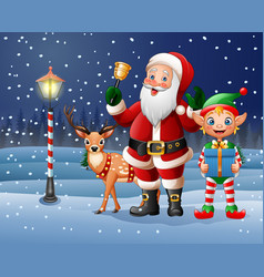 christmas background with santa claus deer elf vector image