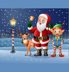 Christmas background with santa claus deer elf vector