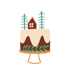 Christmas cake flat xmas vector