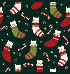 christmas cats seamless background vector image