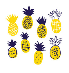 colorful minimalistic pineapples isolated vector image
