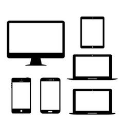 Computer monitor laptop tablet mobile phone vector