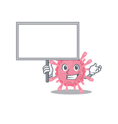 Corona virus germ cartoon character bring board vector