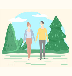 Couple walking in summer park people on date vector