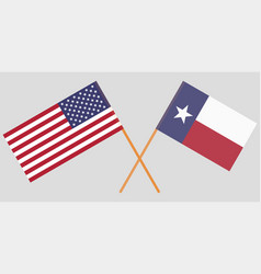 crossed flags of united states and texas state vector image