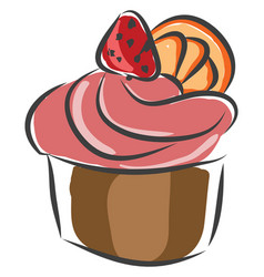 cupcake with pink creame and a strawberry on top vector image