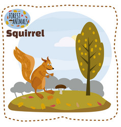 cute cartoon squirrel on background landscape vector image
