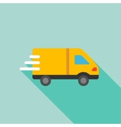 Delivery Van Flat Long Shadow Square Icon vector image