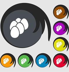 Eggs icon sign Symbols on eight colored buttons vector