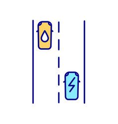 electric vehicles lanes rgb color icon vector image