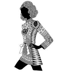 Entangle stylized black girl hand drawn vector