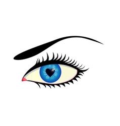 Eye with heart iris vector image