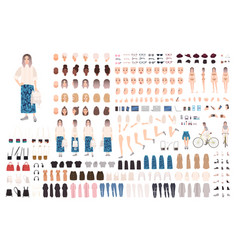 Fashionable girl animation kit or diy set bundle vector