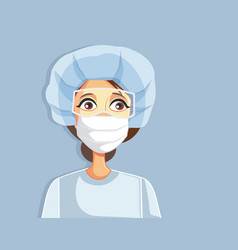 Female doctor wearing protective work gear vector