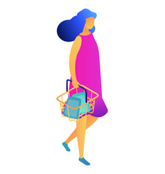 female shopper with shopping basket isometric 3d vector image